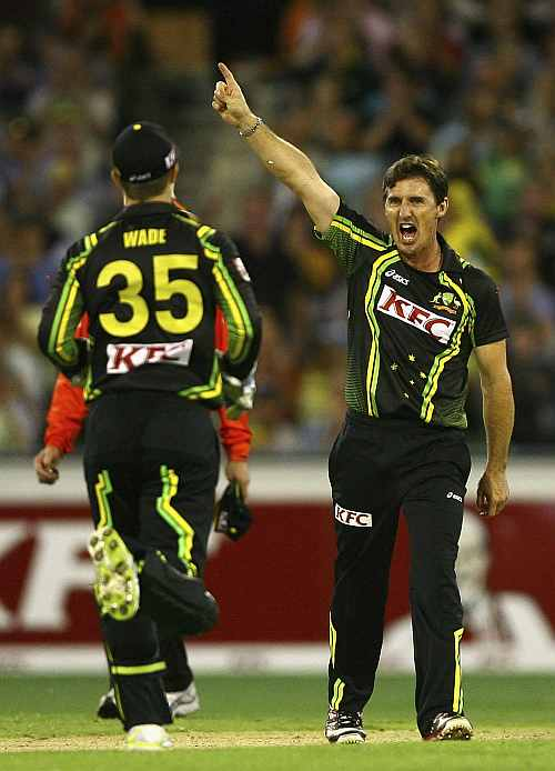Brad Hogg celebrates after picking up Virender Sehwag's wicket