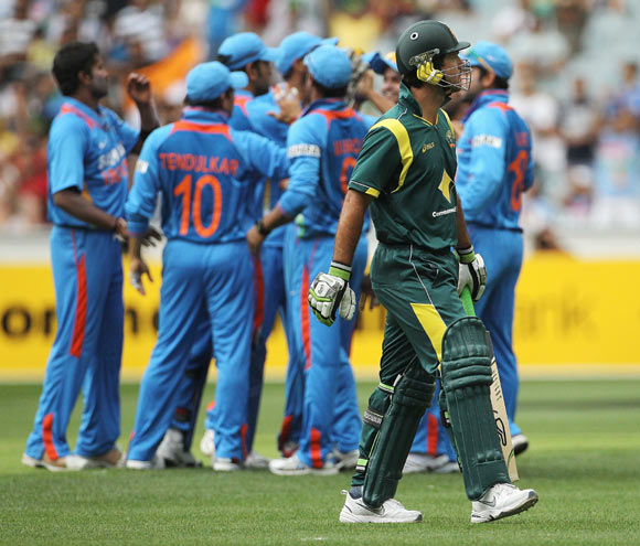 Ricky Ponting of Australia leaves the field after being dismissed during game one of the Commonwealth Bank tri-series between Australia and India at the Melbourne