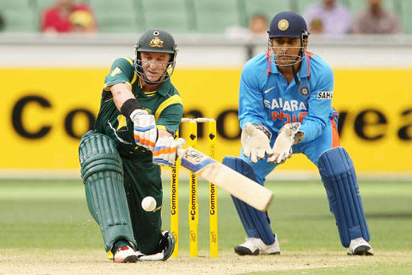 Mike Hussey of Australia bats during game one of the Commonwealth Bank tri-series between Australia and India at the Melbourne Cricket Ground on February 5, 2012