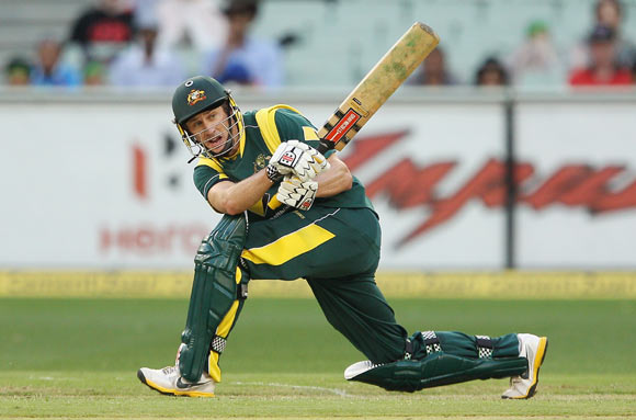 David Hussey of Australia bats during game one of the Commonwealth Bank tri-series between Australia and India at the Melbourne Cricket Ground