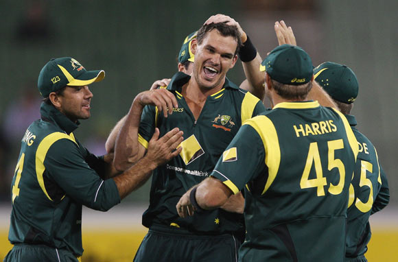 Clint McKay of Australia appeals unsuccessfully during game one of the Commonwealth Bank tri-series between Australia and India at the Melbourne Cricket Ground