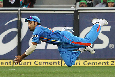 Rohit Sharma drops a catch in the outfield during the 1st ODI on Sunday