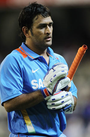 MS Dhoni of India leaves the field after being dismissed during the 1st ODI on Sunday