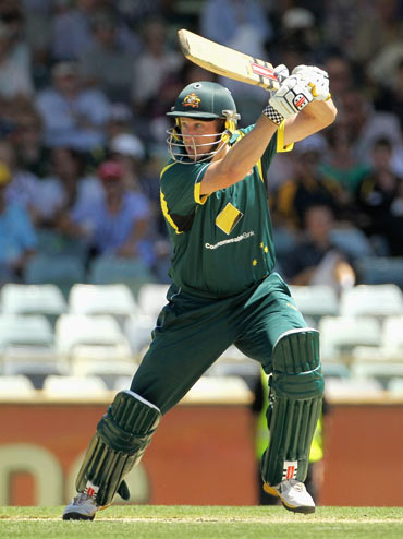 David Hussey of Australia cuts during game three of the One Day International series between Australia and Sri Lanka at WACA