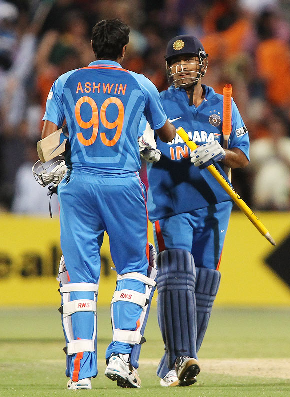 MS Dhoni greets R Ashwin after their win over Australia on Sunday