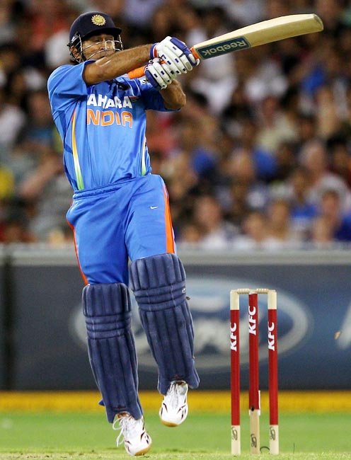 Dhoni at the end of a famous victory again!