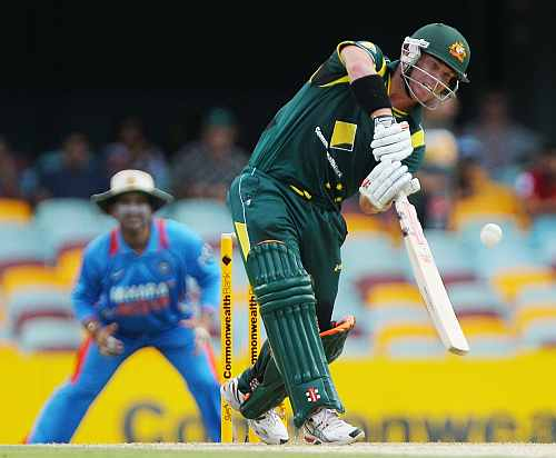 David Warner hits six during his knock against India