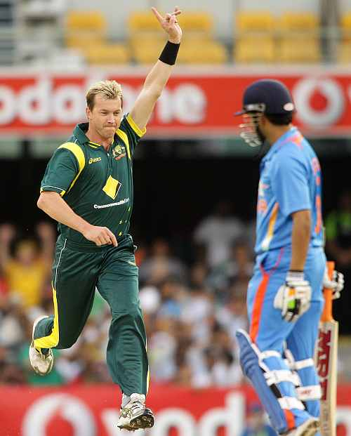 Brett Lee celebrates after picking the wicket of Gautam Gambhir