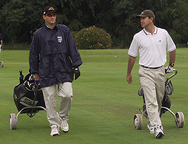 Mark Waugh with Ricky Ponting