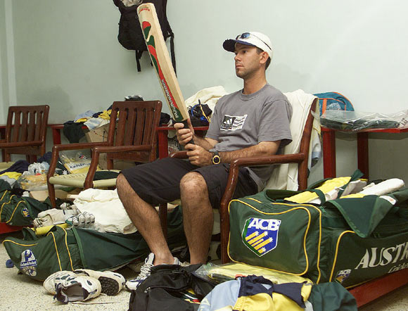 Ricky Ponting of Australia looks on in the change rooms