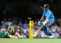 Sachin is run-out by David Warner in Sydney on Sunday