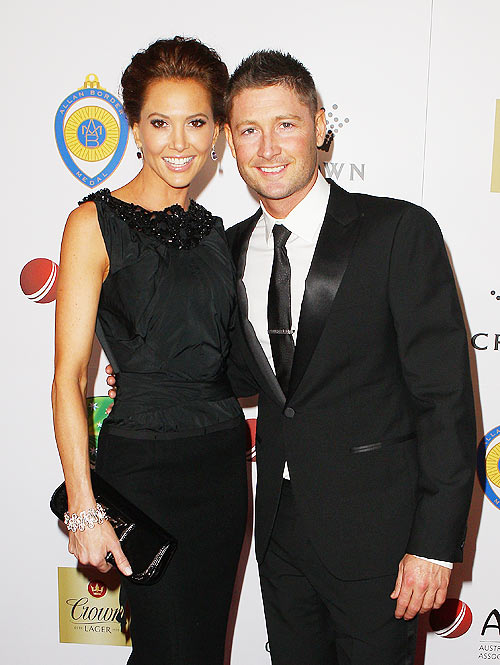 Michael Clarke and Kyly Boldy (left) arrive at the 2012 Allan Border Medal Awards