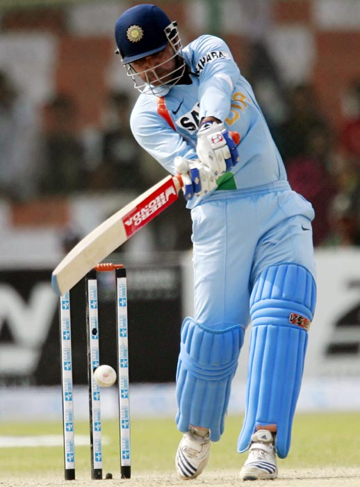 Virender Sehwag hits out against Pakistan during the Asia Cup tournament at the National Cricket Stadium in Karachi, on July 2, 2008