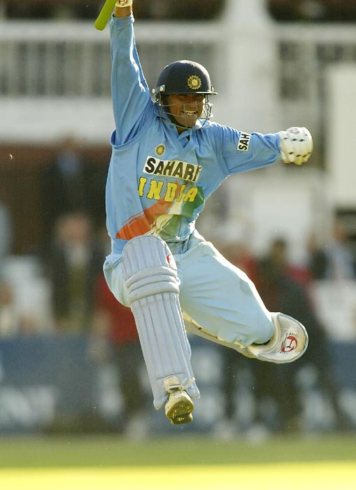 Mohammad Kaif celebrates winning against England in the NatWest Series Final at Lord's in London on July 13, 2002