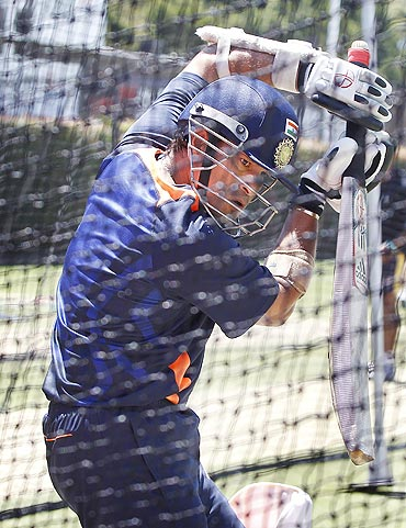 India's Sachin Tendulkar bats in the nets during a practice session at the Sydney Cricket Ground on Monday