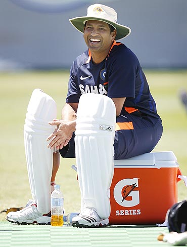 Sachin Tendulkar smiles during a practice session on Monday