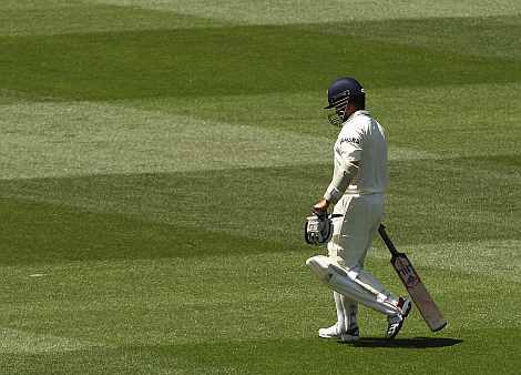 Sachin Tendulkar walks off the field after being dismissed