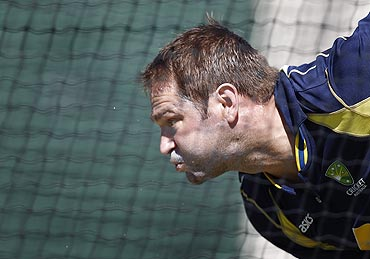 Australia's Ryan Harris bowls during a net session on Monday