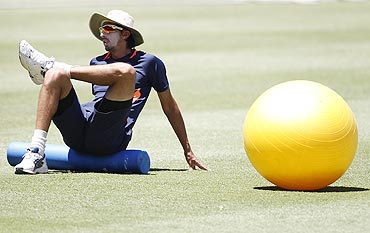 India's Ishant Sharma stretches during a practice session at the Sydney Cricket Ground on Monday