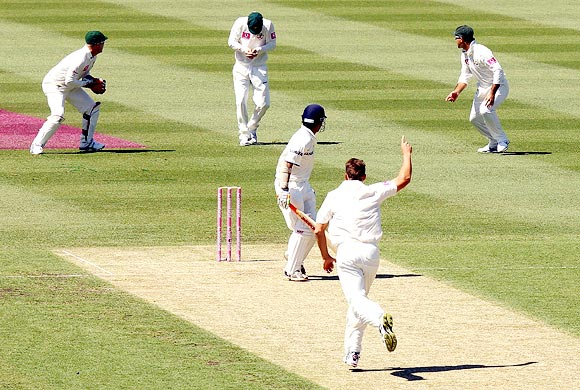 Gautam Gambhir is caught at first slip by Michael Clarke off James Pattinson