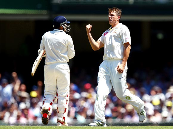 James Pattinson is jubilant after dismissing Virender Sehwag