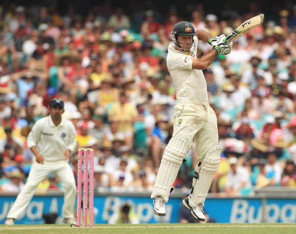 Ricky Ponting of Australia cuts during day two of the Second Test Match between Australia and India at Sydney Cricket Ground