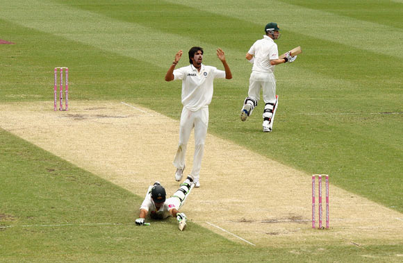 Ricky Ponting of Australia dives for his ground to bring up his century during day two of the Second Test