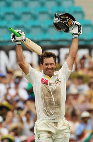 Ricky Ponting of Australia celebrates his century during day two of the Second Test