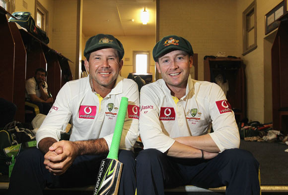 Ricky Ponting and Michael Clarke of Australia reflect on their partnership of 288 runs after day two of the Second Test Match between Australia and India at Sydney Cricket Ground