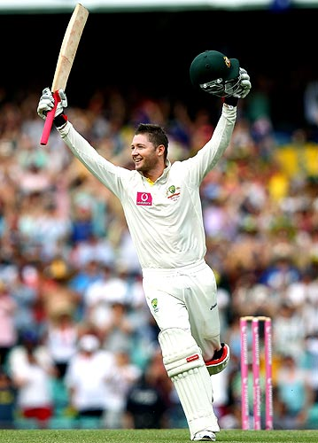Michael Clarke celebrates after reaching his double century
