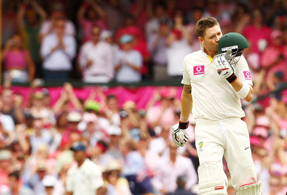 Michael Clarke kisses his helmet after scoring a triple hundred in Sydney