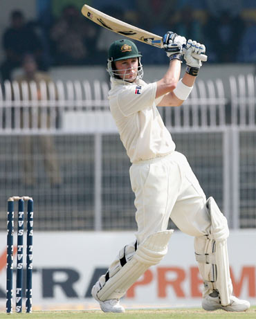 Michael Clarke of Australia in action during day two of the Third Test between India and Australia played at the VCA Stadium on October 27, 2004 in Nagpur