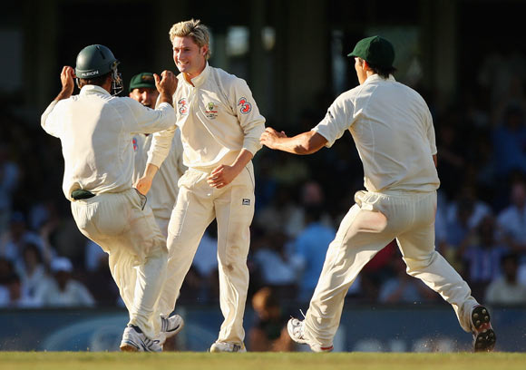 Michael Clarke of Australia celebrates taking the wicket of RP Singh of India for lbw during day of the Second Test match between Australia and India at Sydney