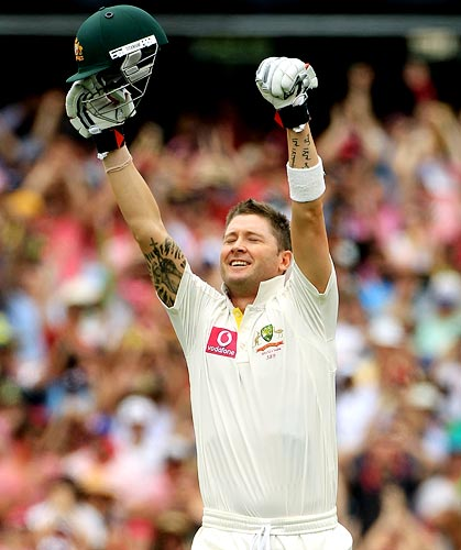Michael Clarke celebrates after getting his triple century