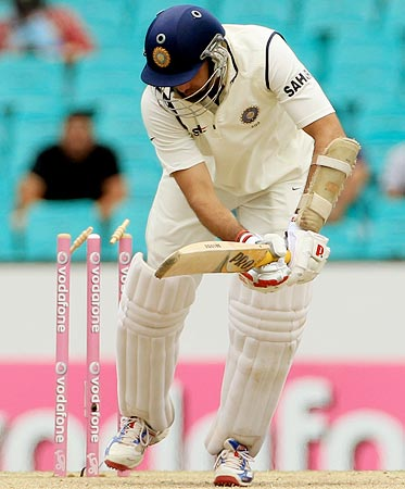 VVS Laxman is bowled by Ben Hilfenhaus during the 2nd Test