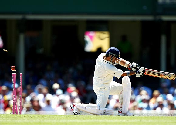 Sachin Tendulkar is bowled by James Pattinson during the second Test in Sydney