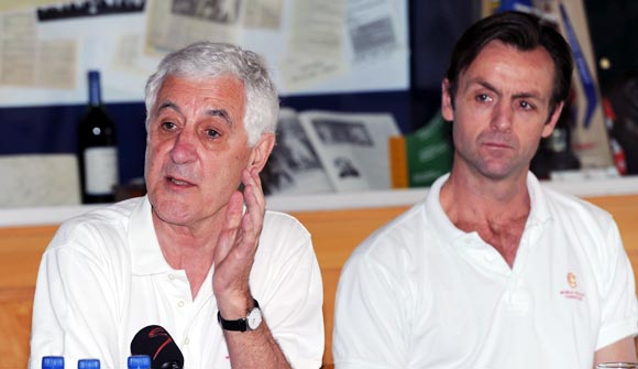 MCC's World Cricket Committee chairman Mike Brearley (left) speaks beside MCC Head of Cricket John Stephenson