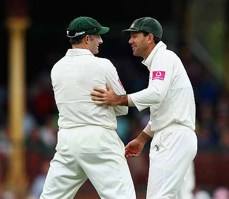 Mike Hussey and Ricky Ponting