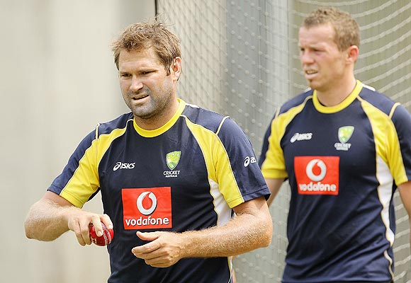 Ryan Harris with Peter Siddle at a nets session