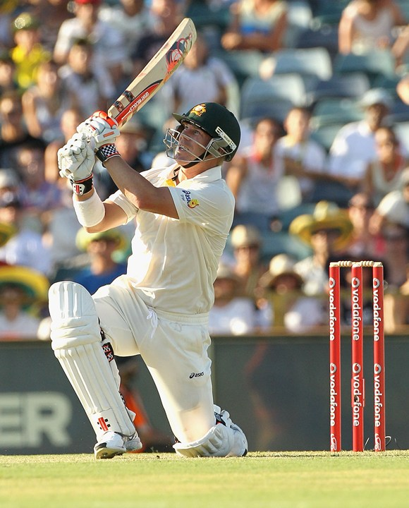 David Warner bats during Day 1 of the third Test against India at the WACA