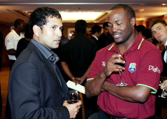 Brian Lara (right) with Sachin Tendulkar