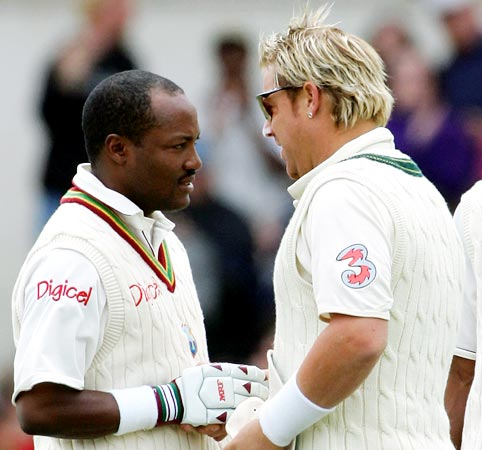 Brian Lara (left) with Shane Warne