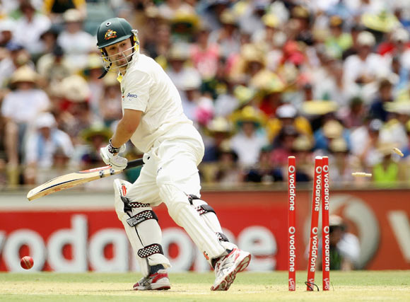 Ed Cowan of Australia is bowled by Umesh Yadav of India during day two of the Third Test match between Australia and India at WACA