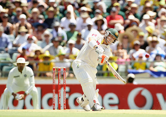 David Warner of Australia hits a six during day two of the Third Test match between Australia and India at WACA on January 14, 2012 in Perth