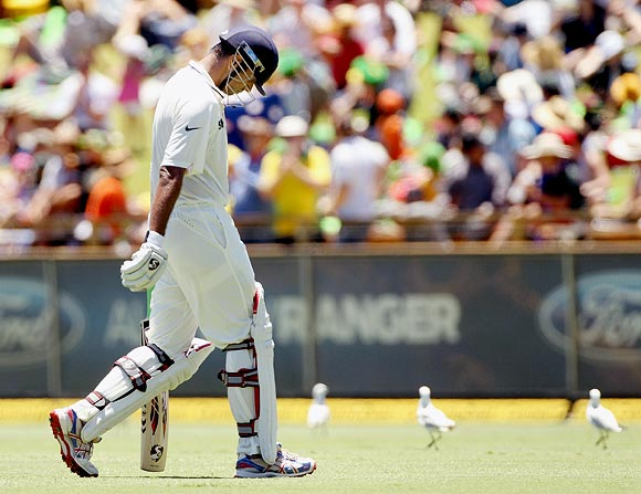 Rahul Dravid after his dismissal during the third Test ag