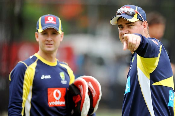 Australia Coach Mickey Arthur, right, with Captain Michael Clarke