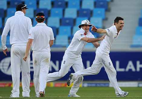 James Anderson celebrates after picking the wicket of Abdul Rehman