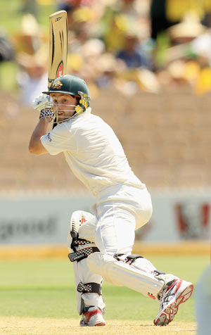Ed Cowan plays the ball to third man region