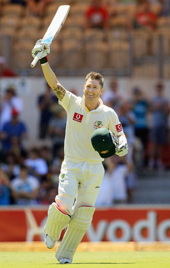 Michael Clarke celebrates his double century