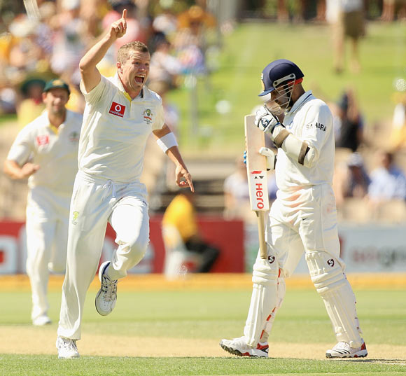 Peter Siddle celebrates after taking the wicket of Virender of Sehwag